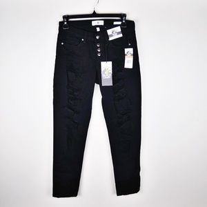 NWT Black skinny jeans with holes